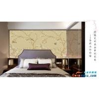 中式手绘花鸟定制壁画无缝墙布客厅电视背景无纺布大型壁画