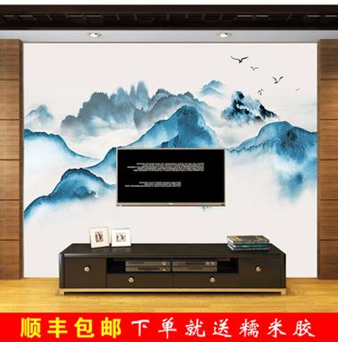 复古怀旧壁画中式手绘山水画背景客厅电视背景墙无缝墙布