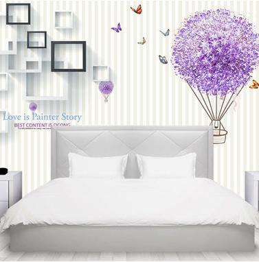 现代简约3D壁画墙纸素雅蒲公英蝴蝶方块方框气球墙布电视背景墙