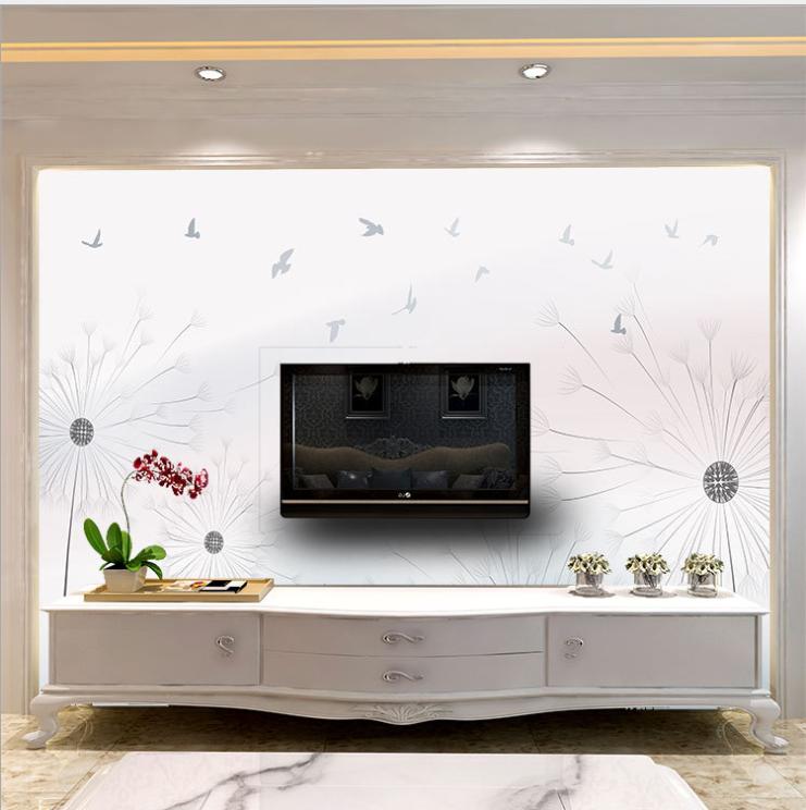 现代简约清新北欧电视背景墙纸蒲公英与飞鸟3D立体壁画装饰画墙