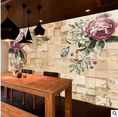 美式墙布3D立体复古玫瑰电视背景客厅卧室墙纸无气味无缝墙布