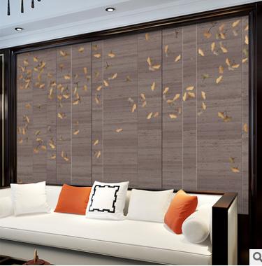 3D古典新中式无缝壁画金色银杏树叶墙纸客厅卧室电视背景墙墙布