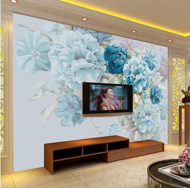 欧式手绘牡丹3d壁画厂家客厅卧室无缝墙布电视背景墙装饰画无纺