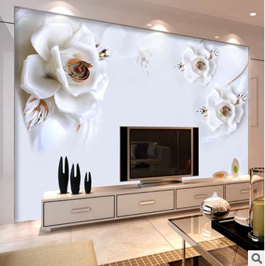 欧式白玫瑰客厅壁画3d立体电视背景墙壁纸客厅影视墙纸