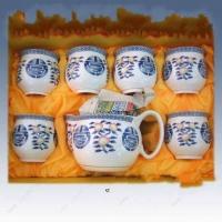 青花山水圆形茶叶罐,礼品茶具