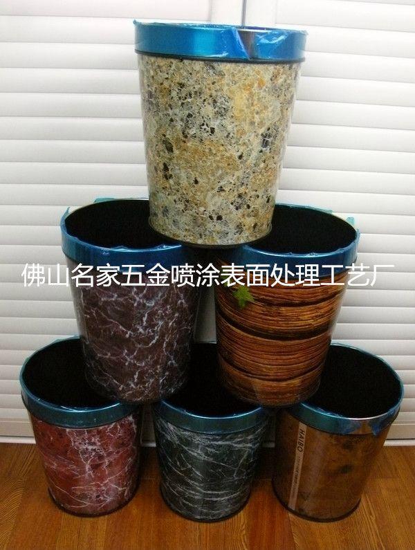 来料加工 家居酒店垃圾桶 表面处理 不锈钢仿大理石纹