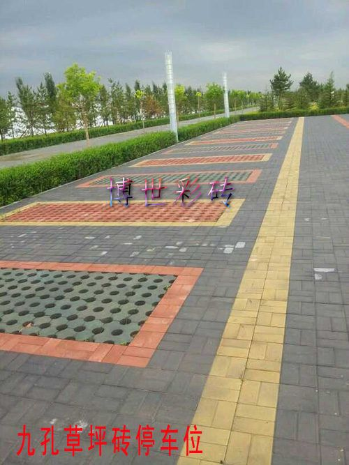 绿化效果好 深受户外停车场喜爱的天津九孔草坪砖高清图片