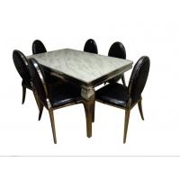 不锈钢中式餐桌    带皮革椅子