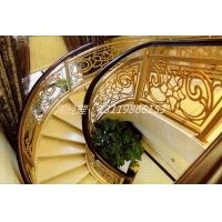 浙江高档电镀仿金铝雕花板护栏 12厘欧式铝艺楼梯护栏