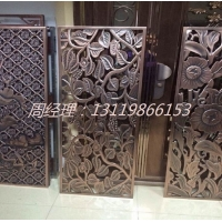 青古铜复古装饰铝雕花屏风 中式铝隔断