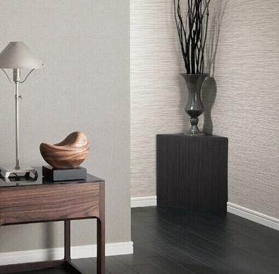新科壁纸灰色织物墙纸与米色横条纹墙纸卧室满铺