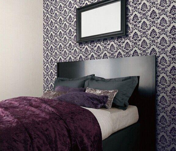 壁纸黑紫色大马士革墙纸ab版卧室床头背景墙