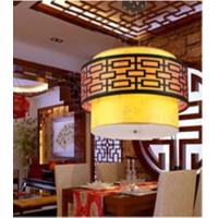 中式时尚木艺吊灯具 客厅灯卧室灯 书房灯古典餐厅灯具羊皮灯饰