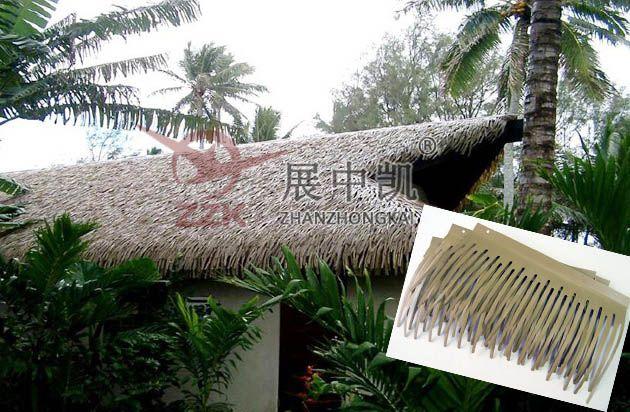 pvc茅草瓦 生态农庄茅草屋装饰 pe茅草瓦图片