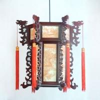 高档中式仿古宫灯 双层木艺雕刻龙头灯笼 古典风酒店茶楼吊灯