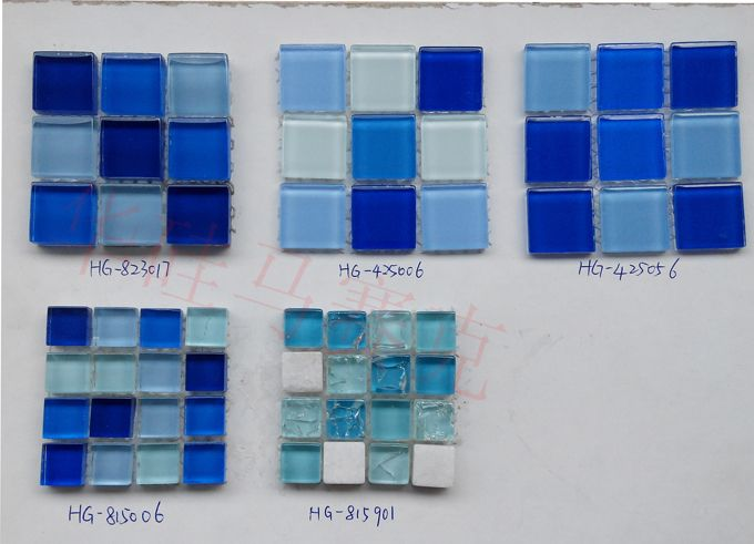 48规格游泳池蓝色水晶玻璃马赛克瓷砖装修