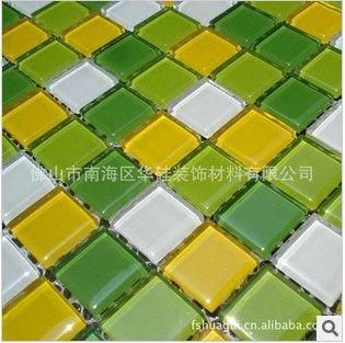 2公分绿黄白色水晶玻璃马赛克瓷砖 厨房浴室鱼池装修