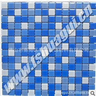 20*20*4mm蓝白色水晶玻璃马赛克游泳池瓷砖