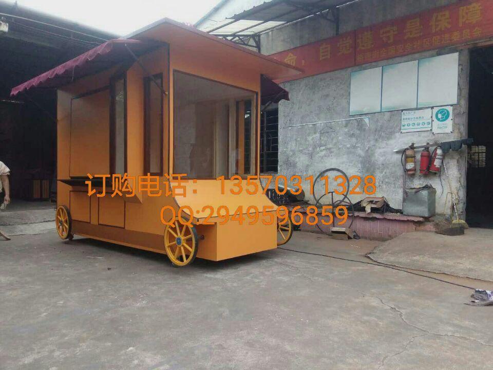 户外家具 户外景观花车 园林移动花车木质售货车