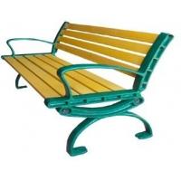 公园休闲路椅 环保路椅 长条形 弧形 靠背式 钢木路椅