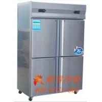 豪华四门不锈钢厨房冰柜,上冷冻下冷藏。