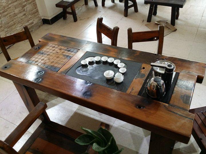 老船木客厅象棋茶桌泡茶桌茶几实木茶台