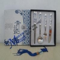 不锈钢陶瓷餐具,青花瓷餐具 西式刀叉勺筷 客户礼品