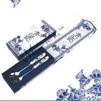 青花瓷餐具 中国风文化礼品 瓷柄叉勺礼盒装 展会活动宣传礼品