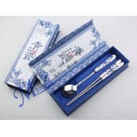 韩式陶瓷勺筷 礼盒三件套 青花瓷礼品餐具 新年礼品定制