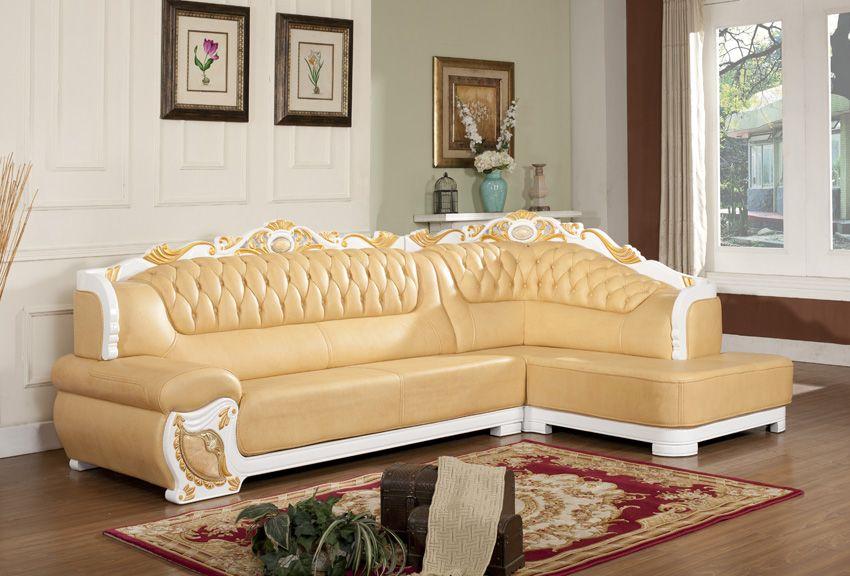 维尔贵族品牌高档欧式贵妃转角真皮沙发6119b#(3 贵)图片
