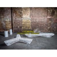 不锈钢镂空金属商场座椅步行街长椅休息凳