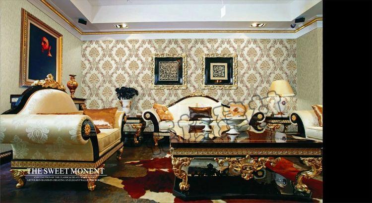 花旗墙纸欧式大花环保PVC壁纸卧室客厅电视背景墙