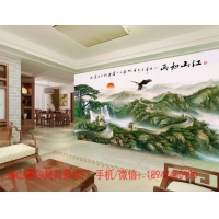 客厅电视背景墙、山水画 江山如画瓷砖画
