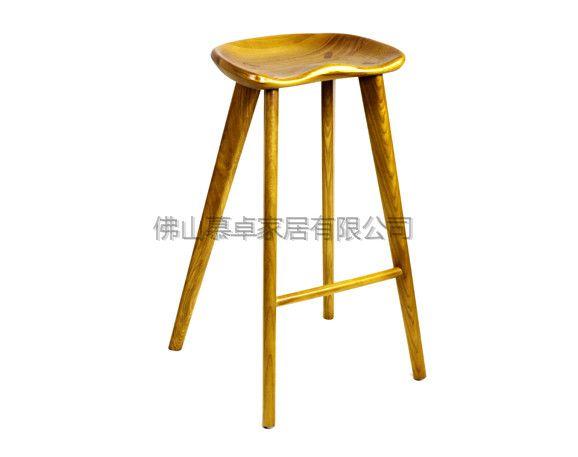 欧式休闲高脚凳 实木酒吧椅 创意复古设计自然风木头吧椅