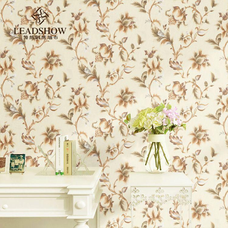 领绣无缝环保刺绣墙布定制 美式乡村卧室客厅背景墙 水墨隐语