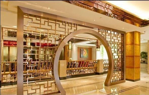 不锈钢酒店大堂拱型玫瑰金屏风