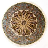 波斯经典孔雀尾设计意大利配色手工真丝波斯地毯/挂毯