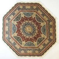 波斯几何经典荣耀大奖章八角圆手工真丝波斯地毯/挂毯