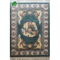 亿丝绿色中式《双龙戏珠》加厚实实惠纯手工真丝地毯122x18