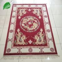 亿丝经典中式《双龙戏珠》加厚实感深红纯手工真丝地毯122x1