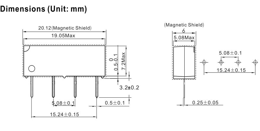 线圈控制电压为5vdc,有二极管保护电路,线圈电阻为500ohm,触点容量最