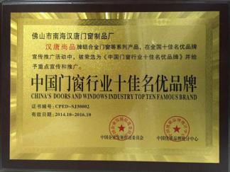 中国门窗行业十佳名优品