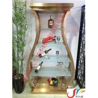 韩式不锈钢酒柜,弧形创意香槟金红酒展示柜