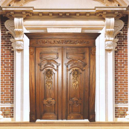 原木门别墅门欧式门会所酒店门大门双开门对开实木门