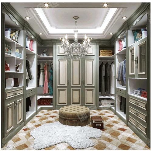 纯实木整体衣帽间书房客厅原整木做美式衣柜