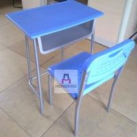 学生课桌椅 塑料铁脚课桌 单人辅导班培训课桌