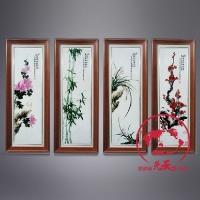 粉彩梅兰竹菊瓷板画