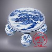 景德镇手绘青花陶瓷桌子凳子套装