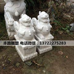 石雕貔貅一对汉白玉貔貅生财摆件 酒店门口生财貔貅