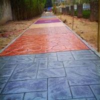 公园艺术水泥压花地坪 艺术彩色压模地坪路面